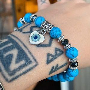 925 silver heart turquoise hematite bracelet